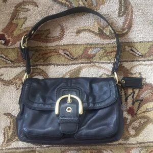 Coach Vintage Black Leather Hobo Handbag